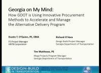 Innovative Procurement Methods to Accelerate and Manage GDOT's Alternative Delivery Program
